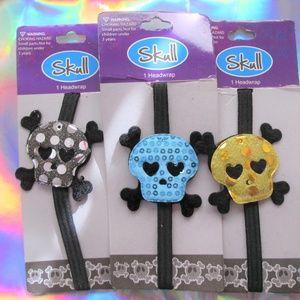 Accessories - nwt 3 sequin skull headbands skeleton gothic hair